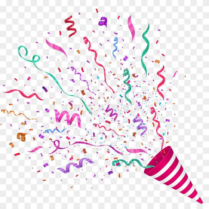 Vektorkonfettier festlig illustration Partipopcornapparat på rutig bakgrund stock illustrationer