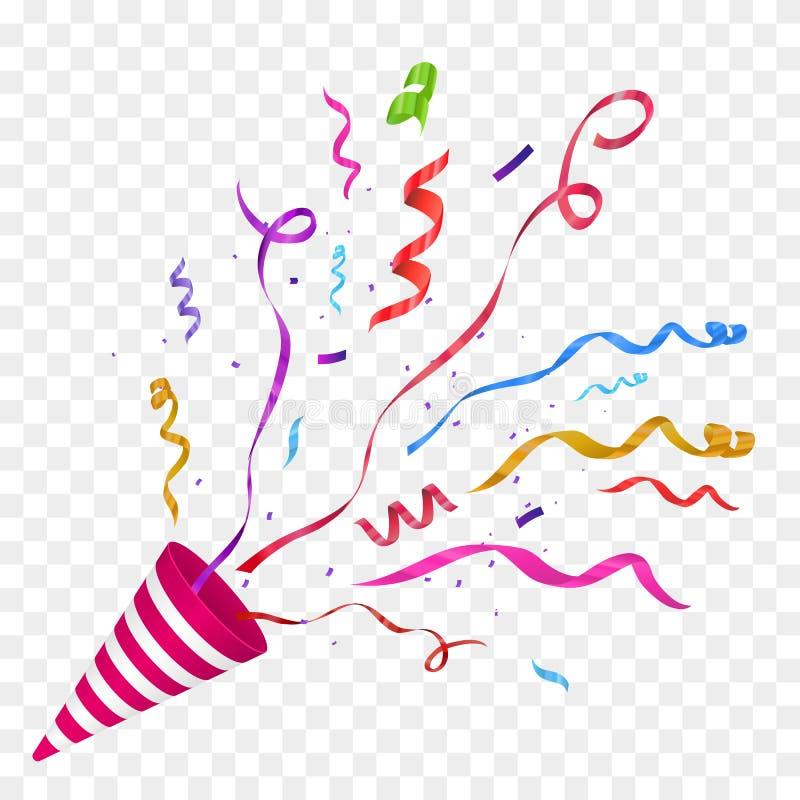 Vektorkonfettier festlig illustration Partipopcornapparat som isoleras på rutig bakgrund royaltyfri illustrationer