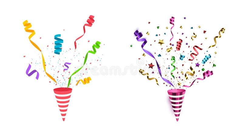 Vektorkonfettier Isolerad partipopcornapparat stock illustrationer