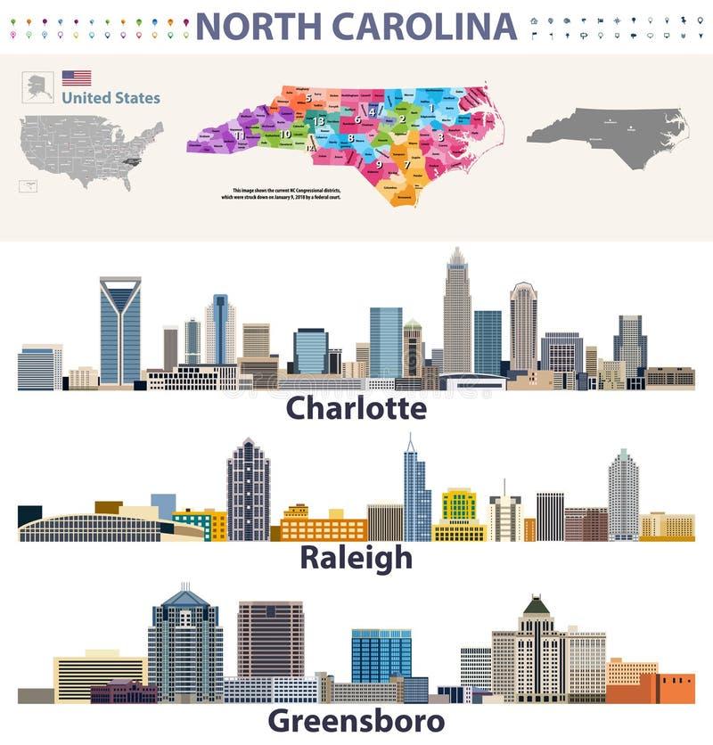 Vektorkongressdistrikt kartlägger och ha som huvudämne stadshorisonter av North Carolina vektor illustrationer