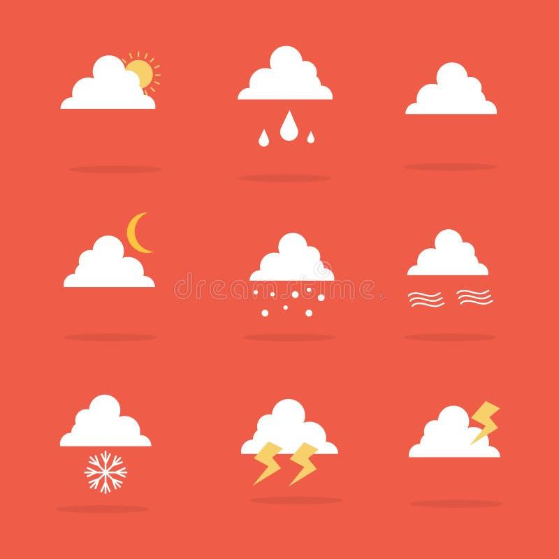 Vektorkonst av väderuppsättningsymbolen stock illustrationer