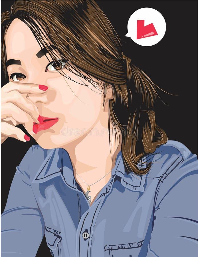Vektorkonst en flicka i jeans vektor illustrationer