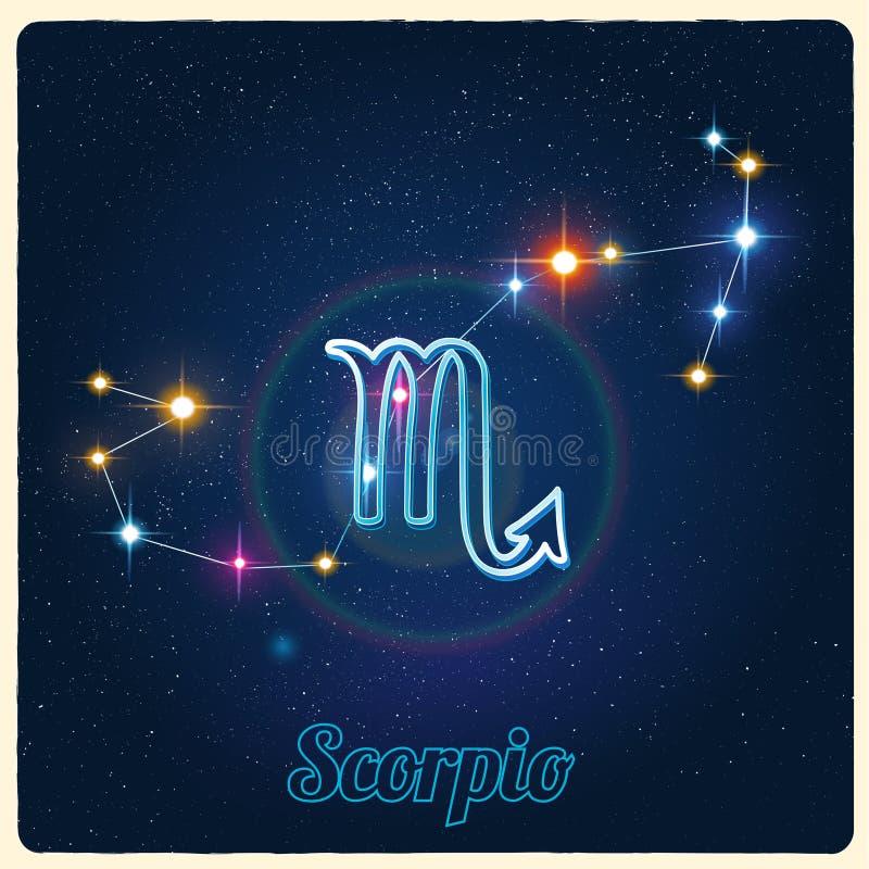 Vektorkonstellation Skorpion mit Sternzeichen stock abbildung