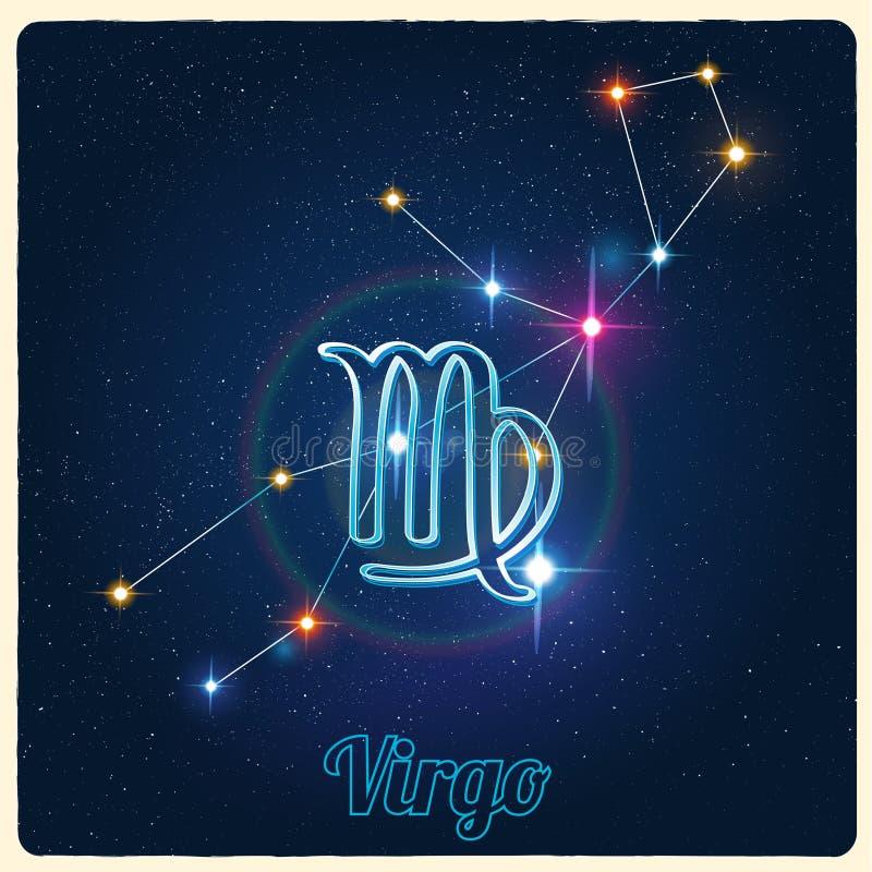 VektorkonstellationJungfru med zodiaktecknet vektor illustrationer