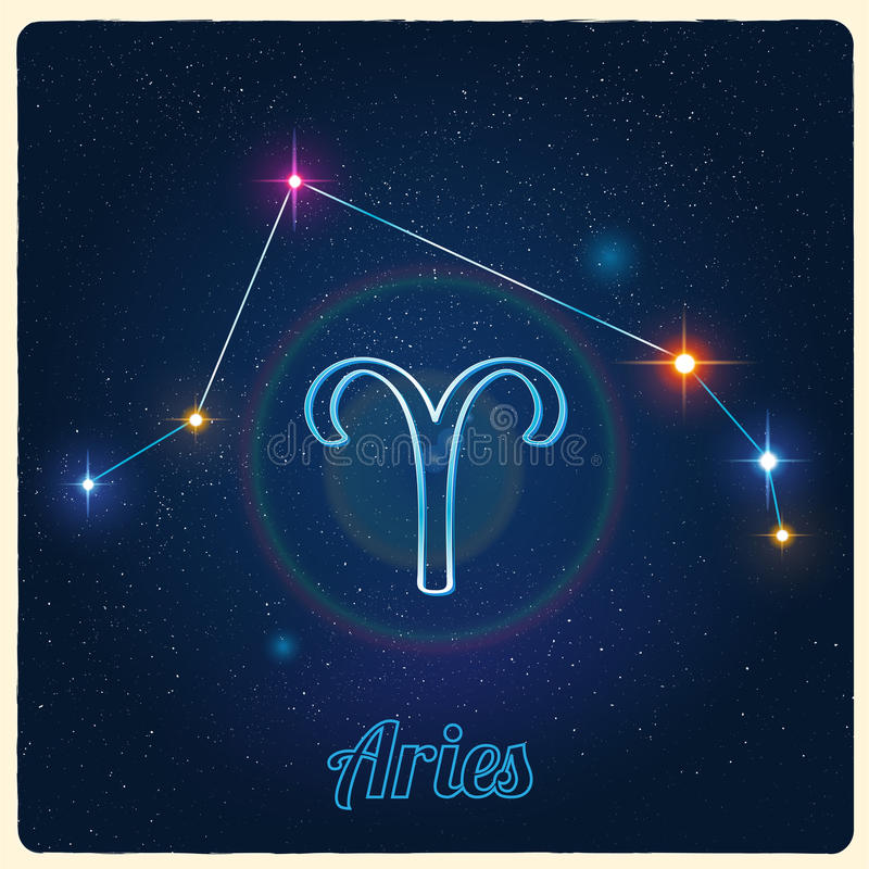 Vektorkonstellationvädur med zodiaktecknet royaltyfri illustrationer