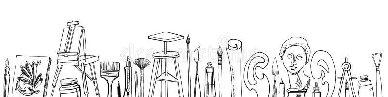 Vektorkonstnärmaterial i rad - den drog handen skissar Svartvit stiliserad illustration med målning- och teckningshjälpmedel vektor illustrationer