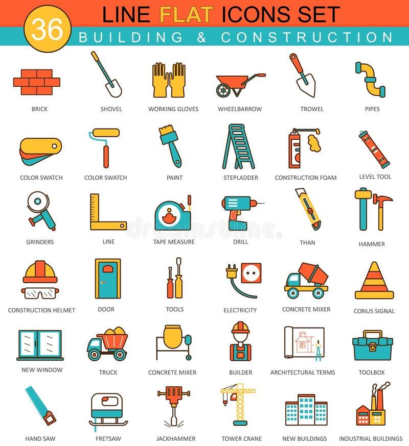 Vektorkonstruktions- och byggnadshjälpmedel sänker linjen symbolsuppsättning Modern design för elegant stil för rengöringsduk royaltyfri illustrationer