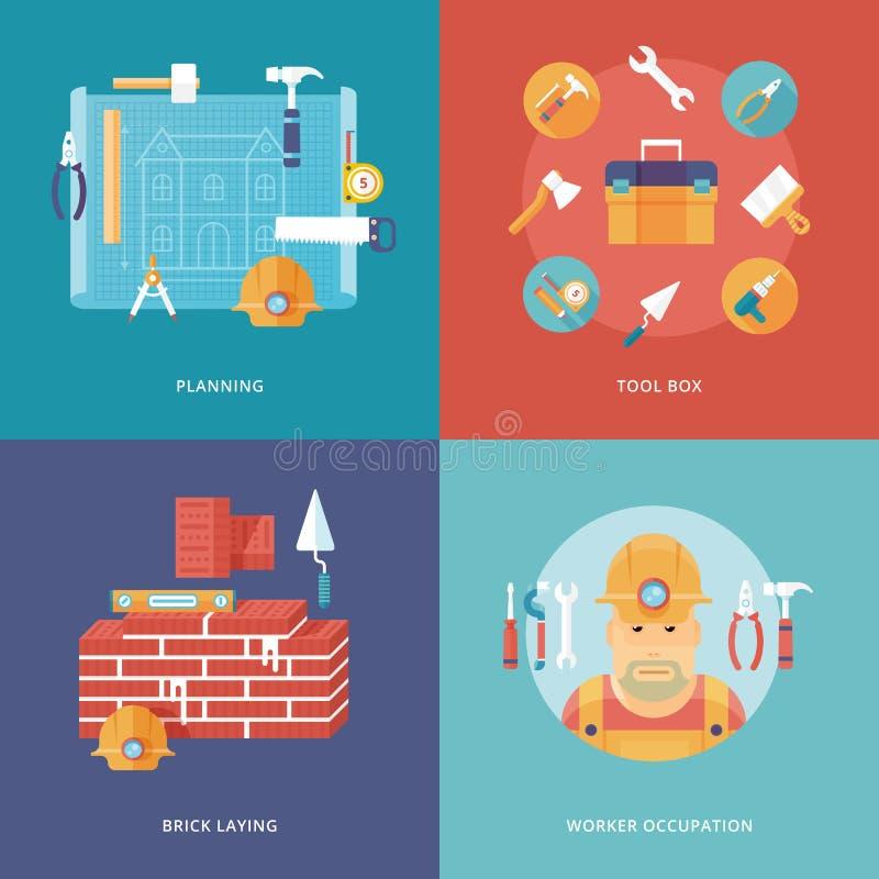 Vektorkonstruktions- och byggnadssymboler ställde in för apps för rengöringsdukdesign och mobil Illustration för att planera och  vektor illustrationer
