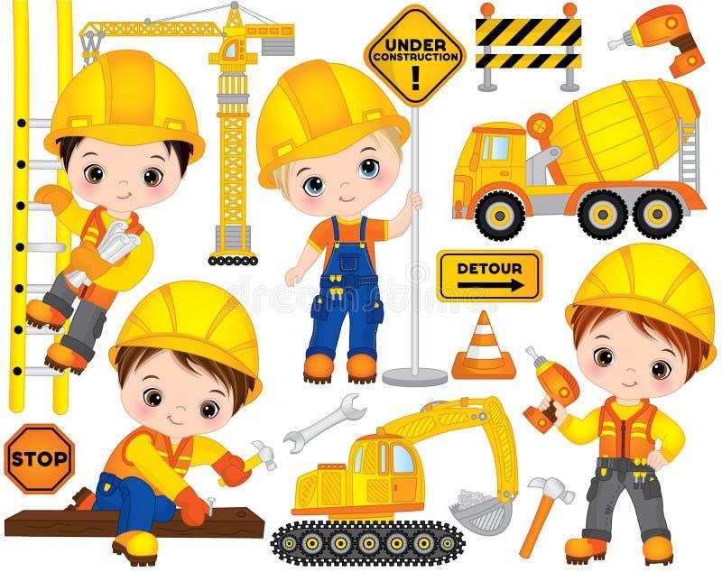 Vektorkonstruktionsuppsättning med gulliga små byggmästare, transport och hjälpmedel Vektorpyser vektor illustrationer