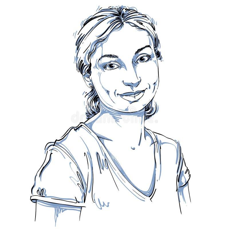 Vektorkonstteckning, stående av ursnygg lycklig le flickaisolator stock illustrationer