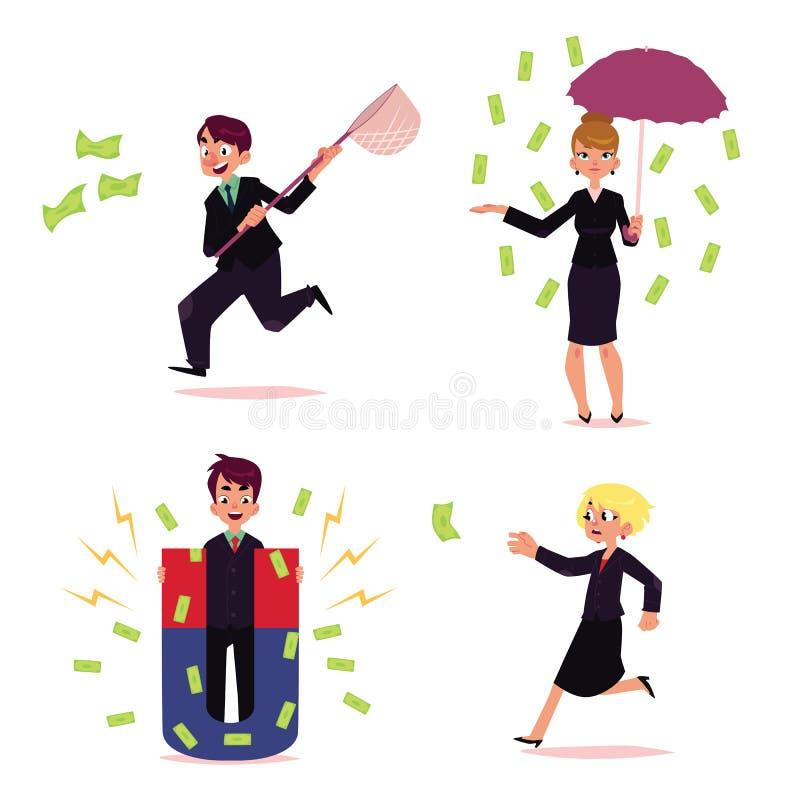 Vektorkontorsfolk som jagar för pengaruppsättning stock illustrationer