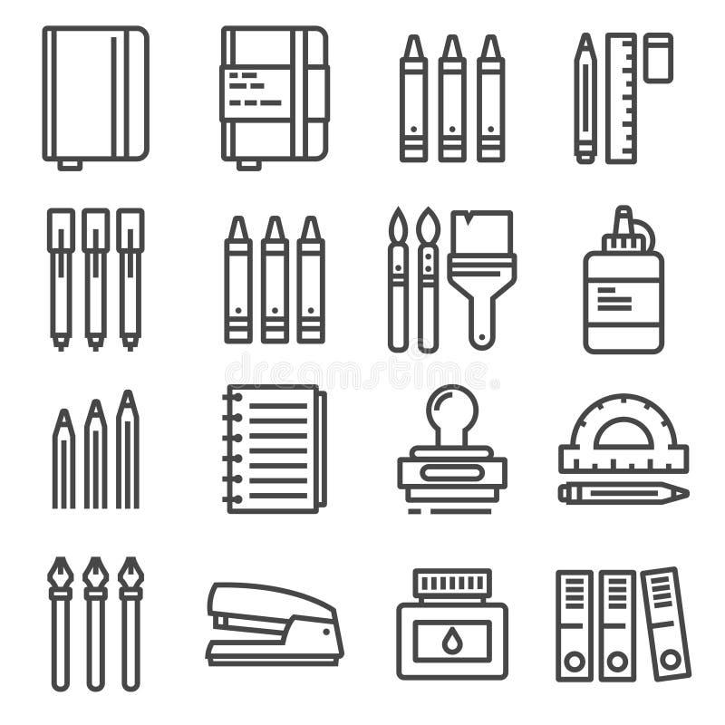 Vektorkontorssaker, den tunna linjen symboler ställde in vektor illustrationer
