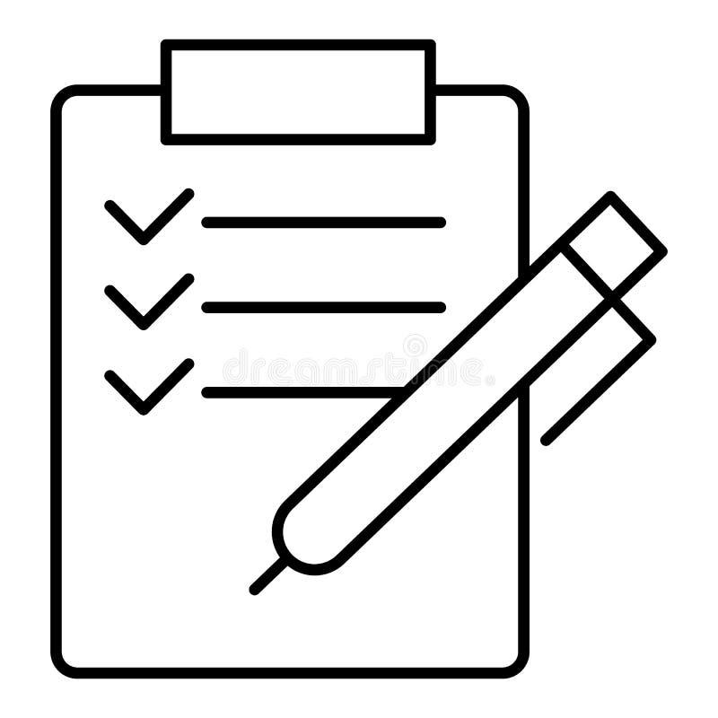 Vektorkontrollistasymbol granskning ansökningsblankett med kontrollfläckar, modernt tecken för uppgiftslista, linjär pictogram, ö vektor illustrationer