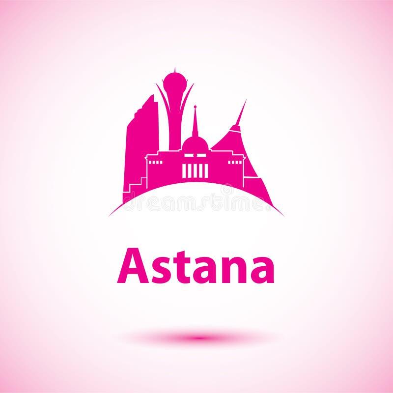 Vektorkontur av Astana, Kasakhstan royaltyfri illustrationer