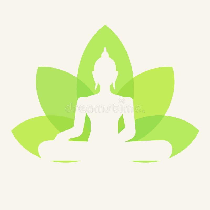 Vektorkontur av Buddhasammanträde stock illustrationer