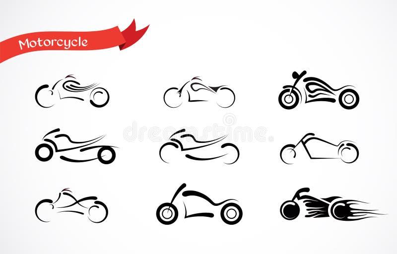 Vektorkontur av den klassiska motorcykeln vektor illustrationer