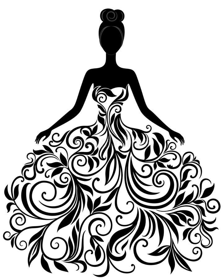Vektorkontur av den unga kvinnan i klänning royaltyfri illustrationer