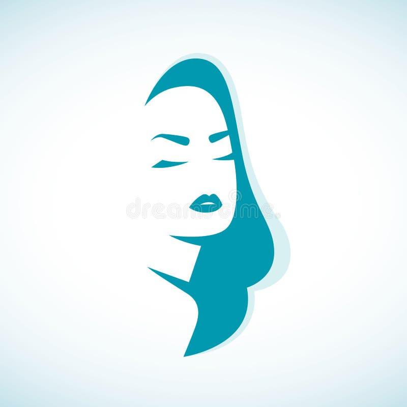 Vektorkontur av en flicka i profilmalllogo eller ett abstrakt begrepp för skönhetsalonger, brunnsort, skönhetsmedel, mode och skö royaltyfri fotografi