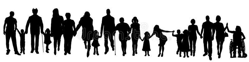 Vektorkontur av en grupp människor vektor illustrationer