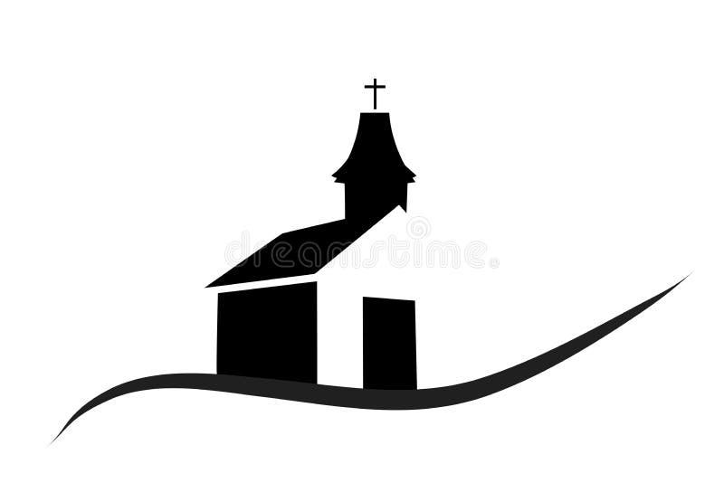 Vektorkontur av en kyrka royaltyfri illustrationer