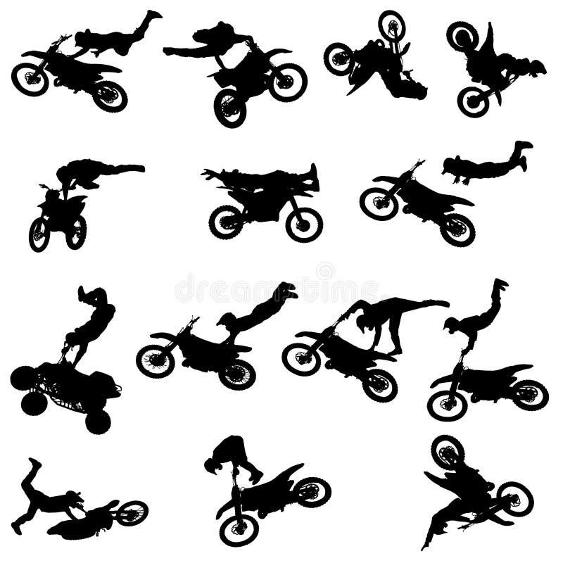 Vektorkontur av en man med en motorcykel royaltyfri illustrationer