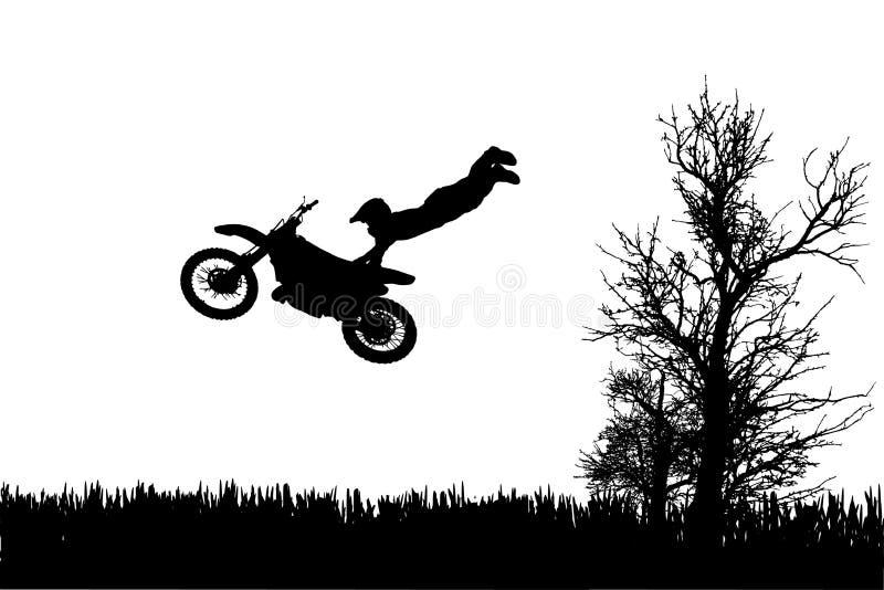 Vektorkontur av en man på en motorcykel stock illustrationer