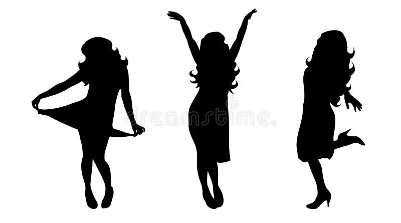 Vektorkontur av flickan stock illustrationer