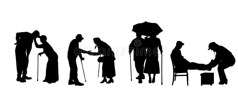 Vektorkontur av gamla människor royaltyfri illustrationer