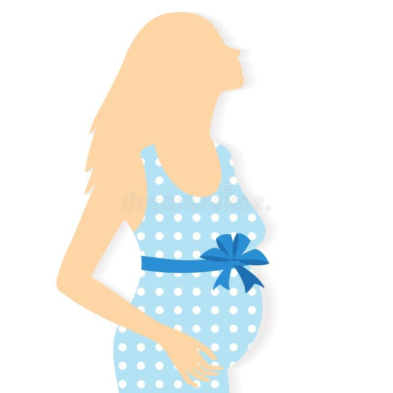Vektorkontur av gravida kvinnan vektor illustrationer