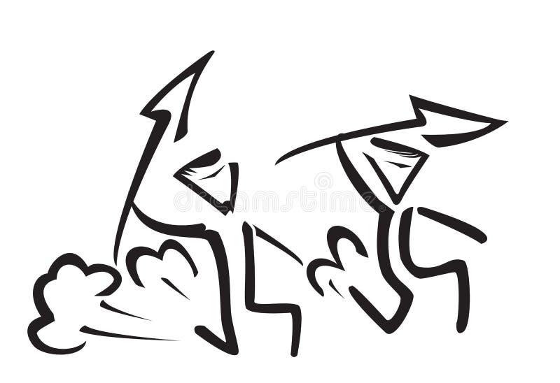 Vektorkontur av jägare vektor illustrationer