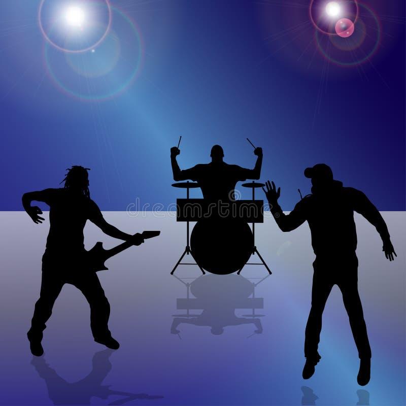 Vektorkontur av musikbandet stock illustrationer