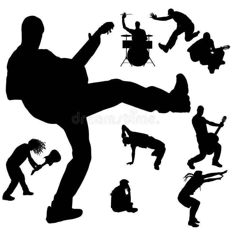 Vektorkontur av musikbandet royaltyfri illustrationer