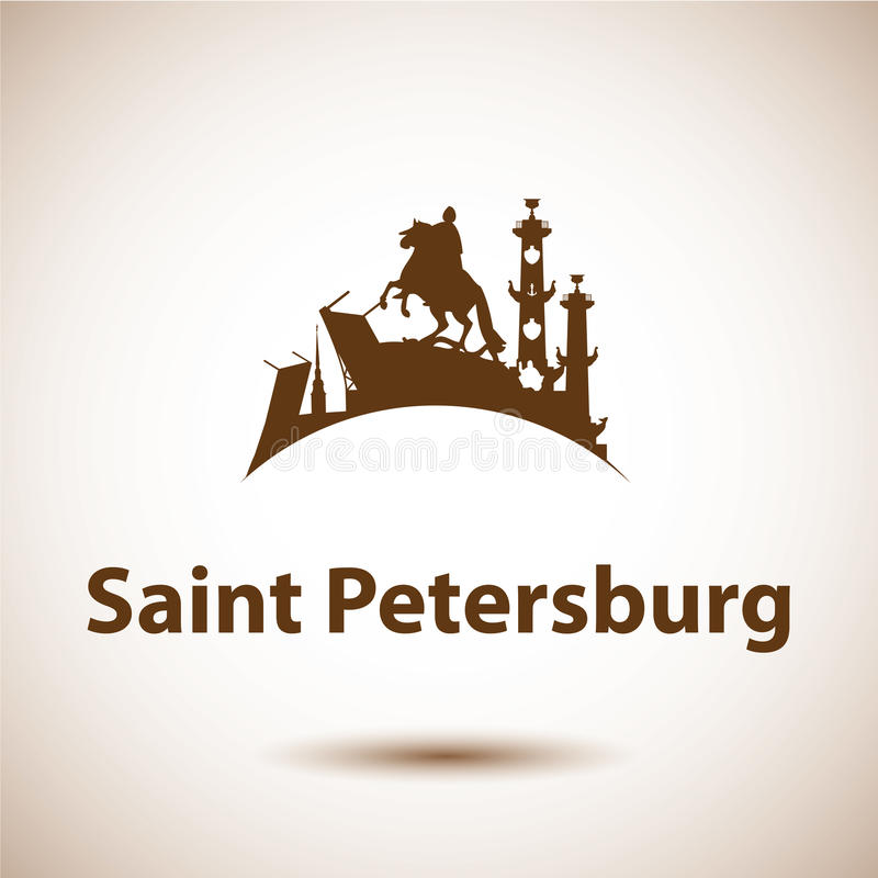 Vektorkontur av St Petersburg, Ryssland stock illustrationer