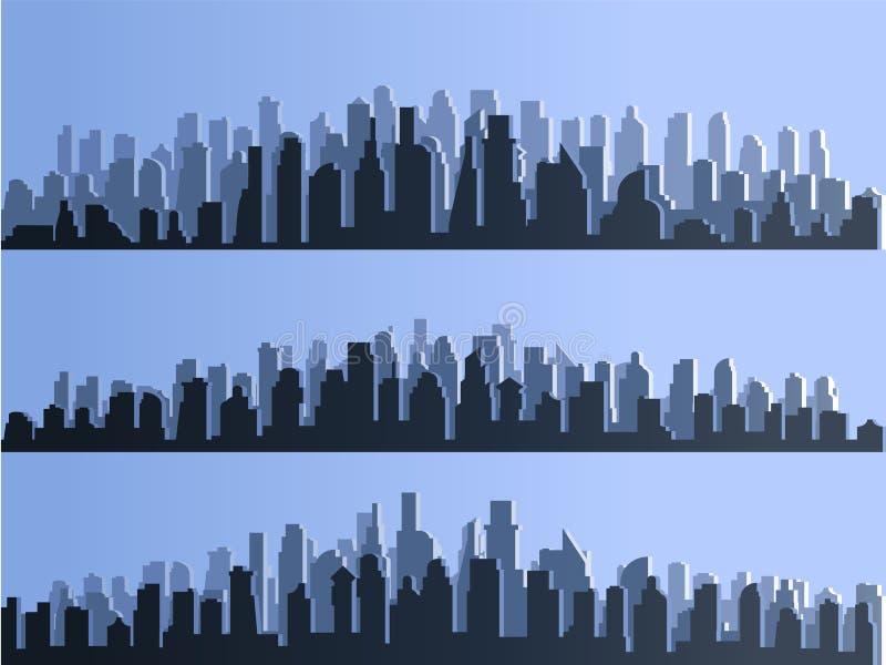 Vektorkontur av storstadstaden, skyskrapor som bygger, affärsmitt Skymning blå solnedgång, panorama av vektor illustrationer