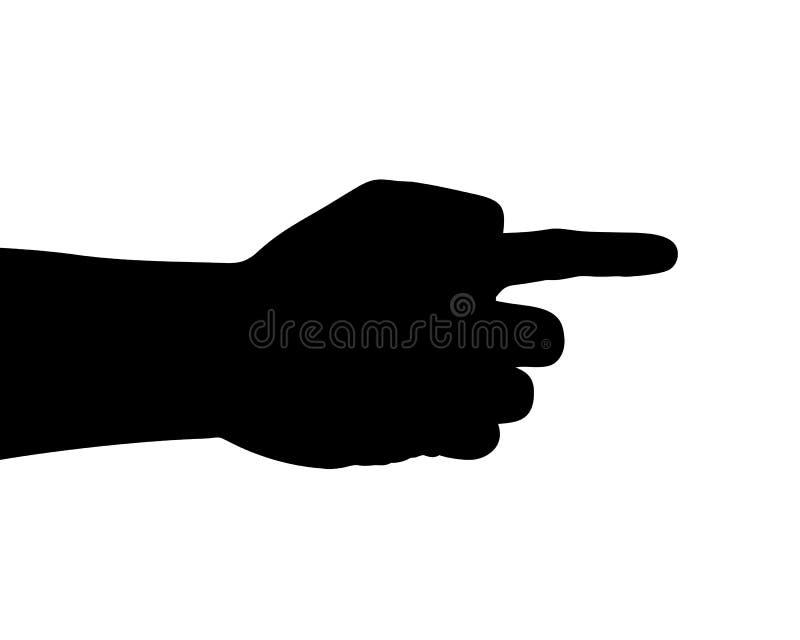 Vektorkontur, handgester, handtecken av pekfingret som pekar något vektor illustrationer