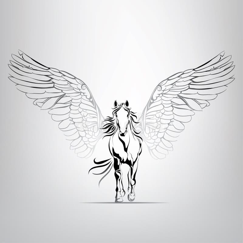 Vektorkontur som kör Pegasus i rörelse vektor illustrationer
