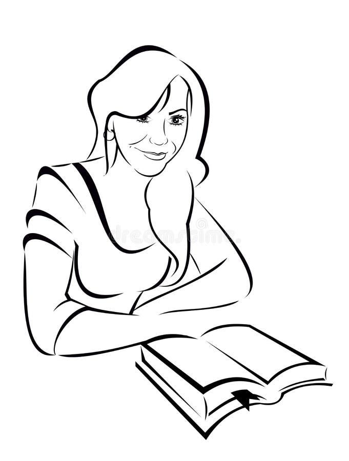 Vektorkontur - stående av en härlig flicka med boken royaltyfri illustrationer