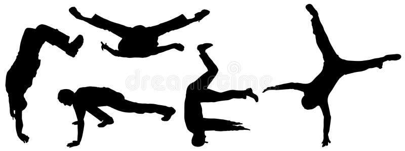 Vektorkonturer av dansfolk. stock illustrationer