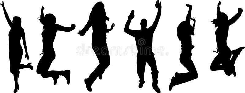 Vektorkonturer av dansfolk. royaltyfri illustrationer