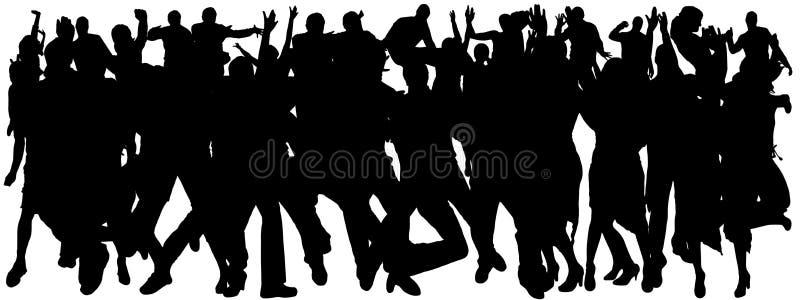 Vektorkonturer av dansfolk stock illustrationer