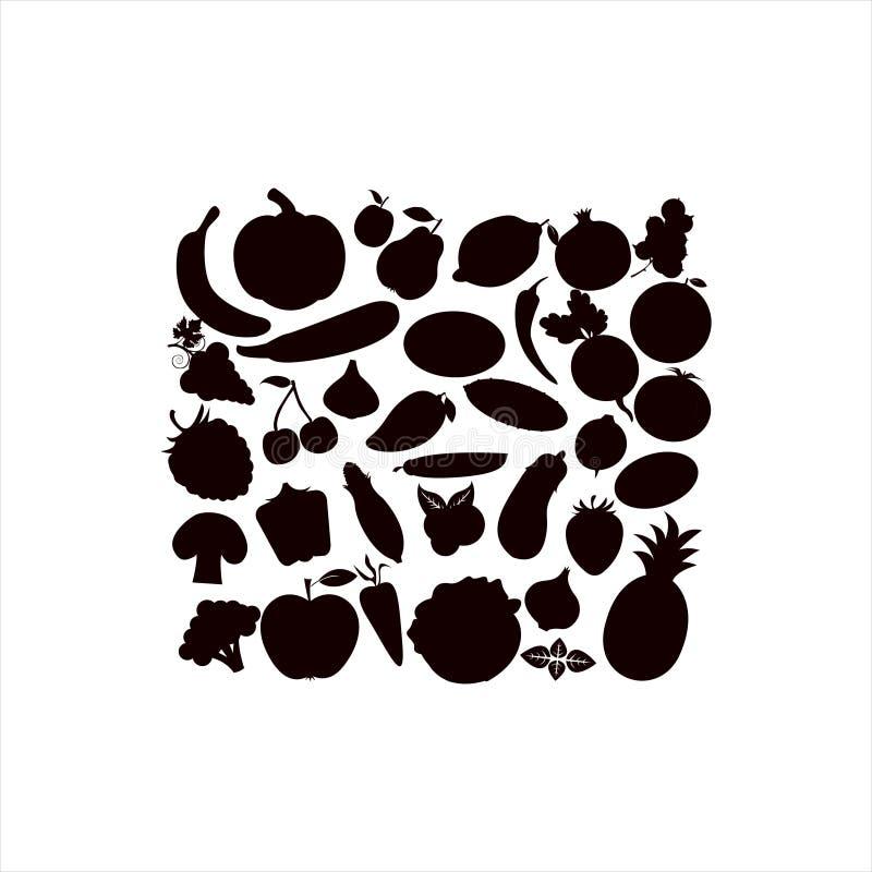 Vektorkonturer av fruktgrönsaker, bär på en vit bakgrund stock illustrationer