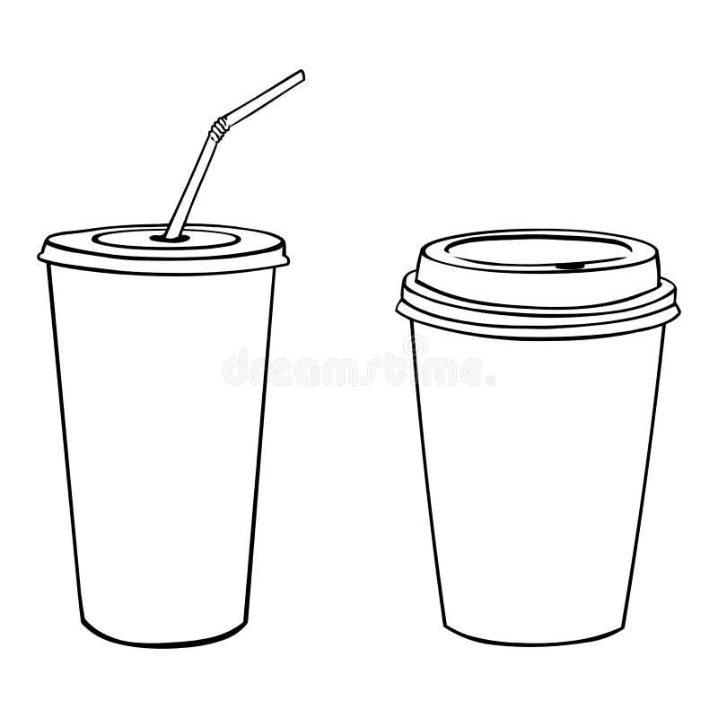 Vektorkonturer av plast- koppar vektor illustrationer