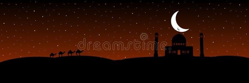 Vektorkonturmoské med månen på stjärnabakgrunden vektor illustrationer