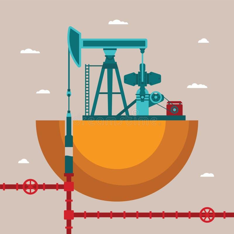 Vektorkonzept der Ölquelle lizenzfreie abbildung