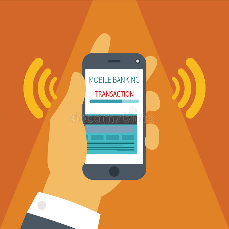 Vektorkonzept der beweglichen Zahlung auf Smartphone vektor abbildung