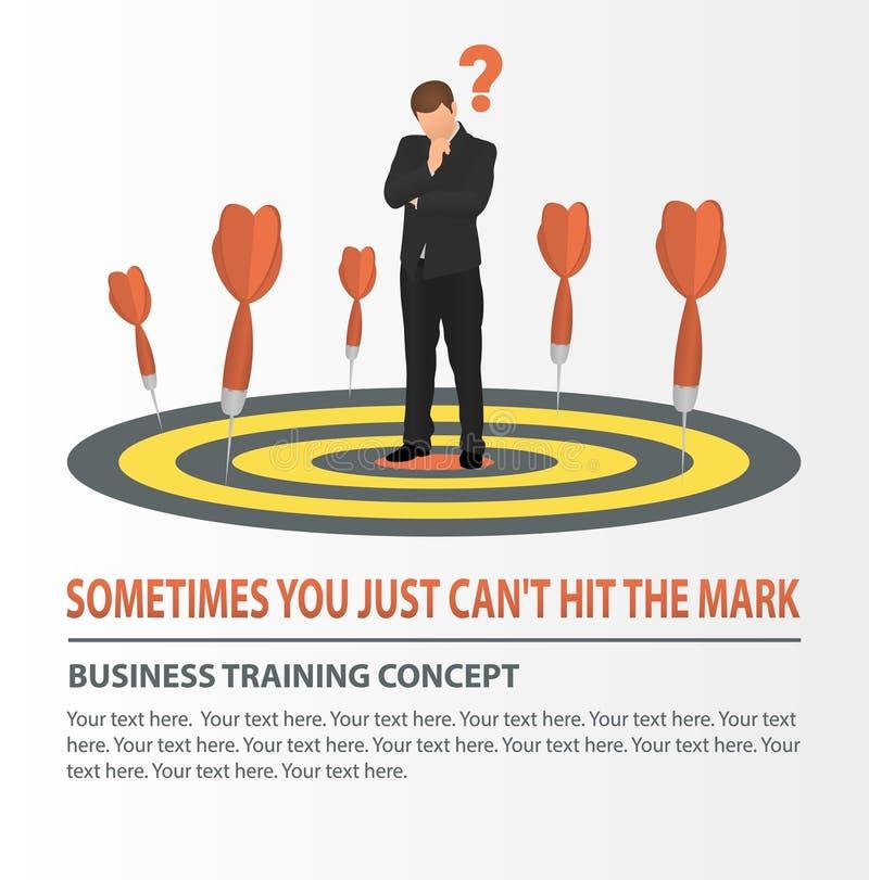 Vektorkonzept der fehlenden ZielGeschäftsstrategie Geschäftsmann, der die Dartscheibe betrachtet Pfeile verfehlten das Ziel vektor abbildung