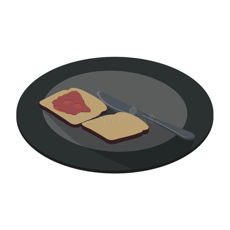 Vektorkonzept der gesunden Lebensmittelplatte Zwei Stücke des Laibs mit Stau, Lügen nähern sich scharfem Messer Flache Art der Ka vektor abbildung