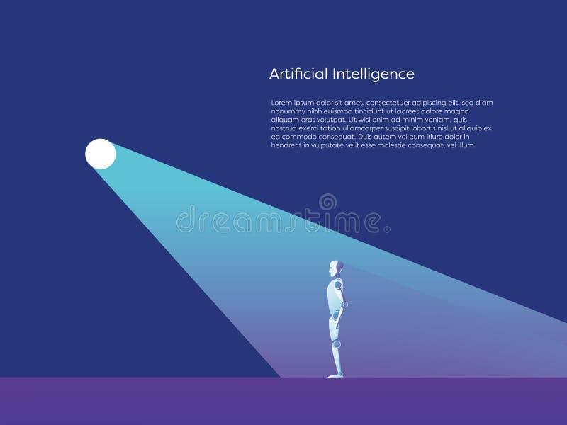 Vektorkonzept der künstlichen Intelligenz mit ai-Roboterstellung im Scheinwerfer Symbol der zukünftigen neuen Technologie stock abbildung