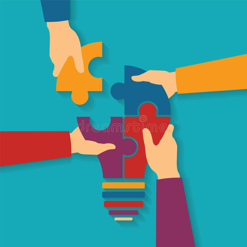Vektorkonzept der kreativen Teamwork lizenzfreie abbildung