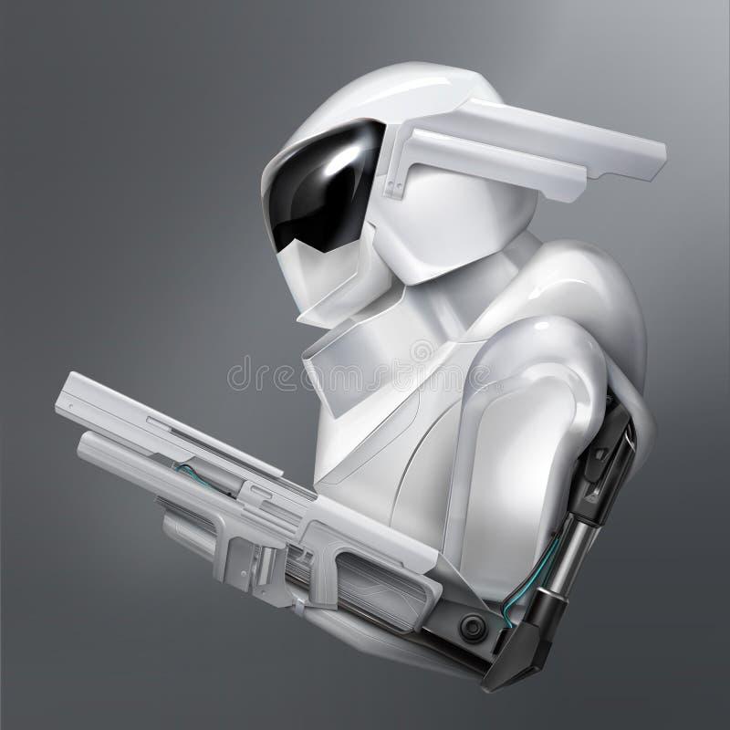 Vektorkonzept des fiktiven bewaffneten Roboterpolizeibeamten oder -soldaten lokalisiert auf Hintergrund stock abbildung